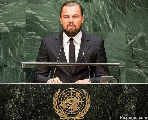 عکس لئوناردو دی کاپریو در سازمان ملل متحد