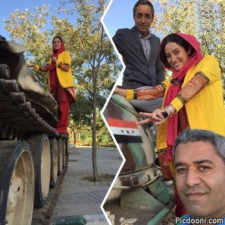 عکس جدید بهاره افشاری و امیرحسین رستمی با تانک