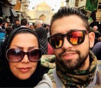 عکس محسن افشانی و مادرش در کربلا