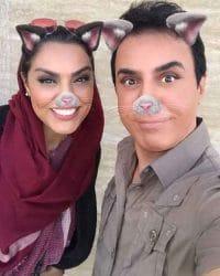 عکس لیلا خوشکنار و داریوش فرضیایی با گوشهای گربهای و خرگوشی