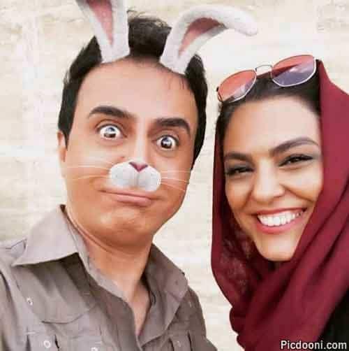 عکس لیلا خوشکنار و داریوش فرضیایى با گوشهای گربهای و خرگوشی